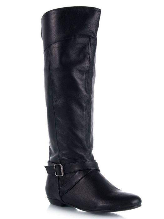 NEWBIE Women Knee High Leather Buckle Detail Boot sz Black