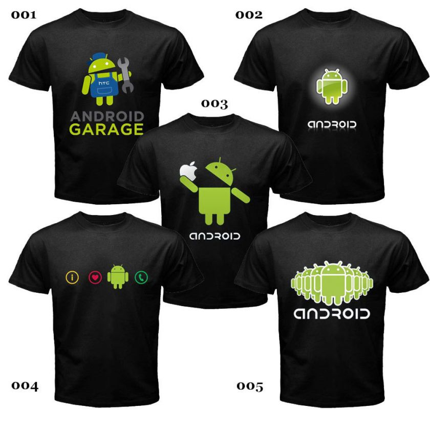 ANDROID FANS BLACK SHIRT ASSORTED DESIGNS *NEW & RARE*
