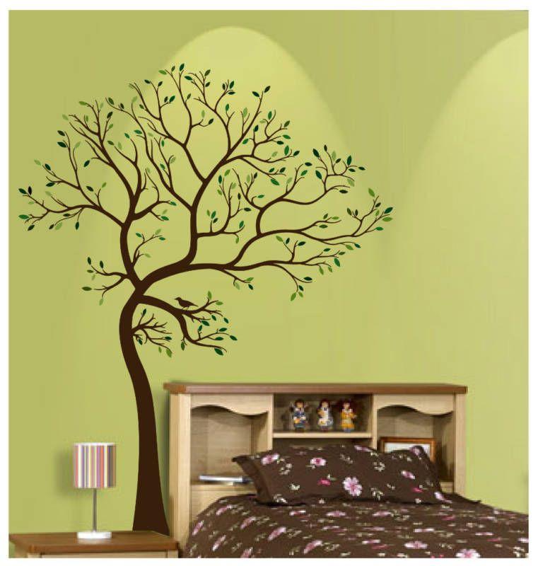 BIG TREE BROWN GREEN WALL DECAL Deco Art Sticker Mural