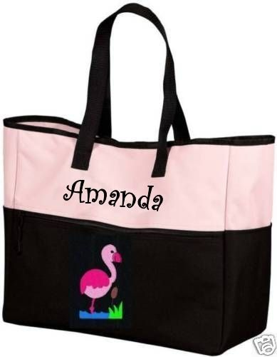 Flamingo PINK Black Tote Bag PERSONALIZED beach florida