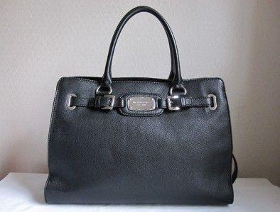 348 MICHAEL KORS Black HAMILTON LG Leather Tote Bag Handbag Purse