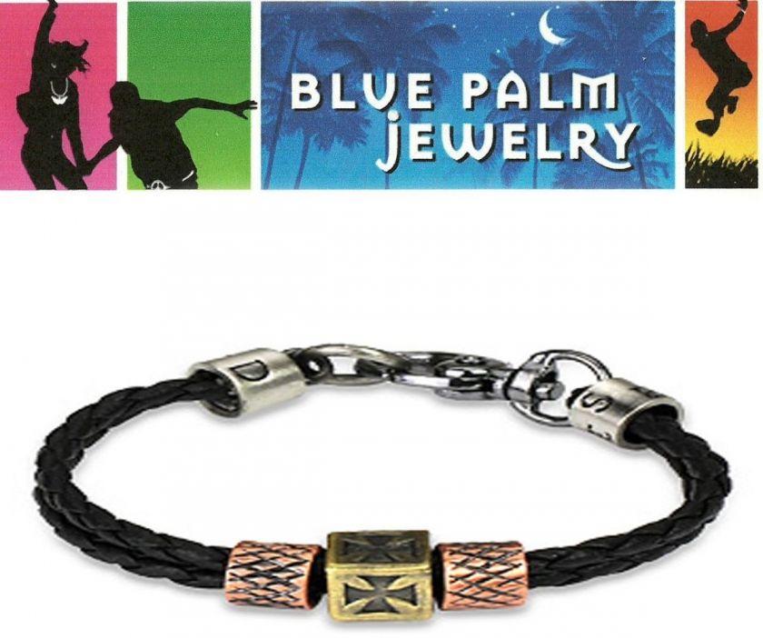 Celtic Cross Tribal Black Leather Bracelet Wristband B2