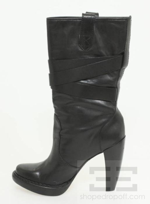 Kors Black Leather Strap Detail Platform Lisa Boots Size 7.5M