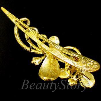 SHIPPING Austrian rhinestone crystal butterfly hair clamp clip