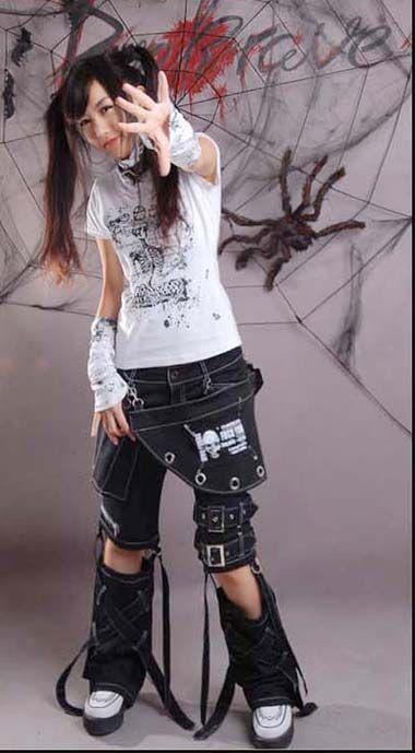 punk kera rock fashion visual kei skull printed unisex pants trousers