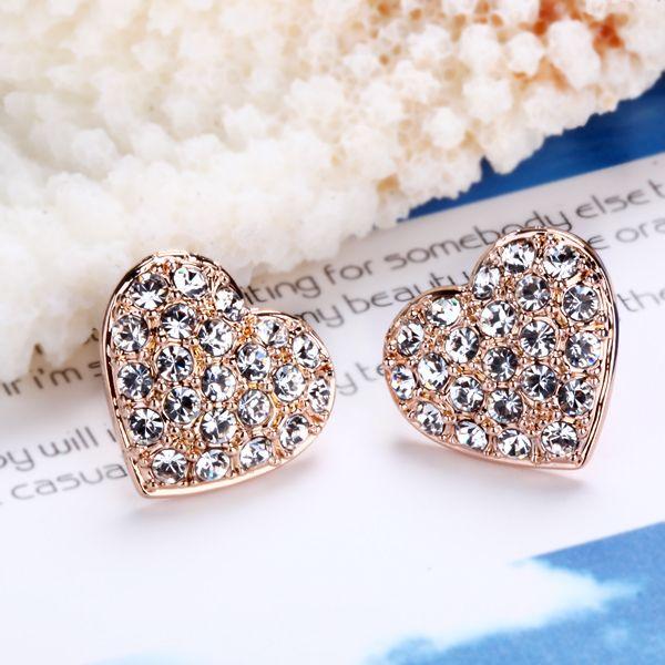 E2 18K rose Gold plated white gem Swarovski crystal heart earrings