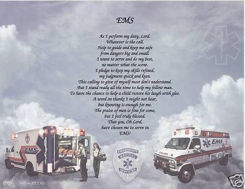 EMS Poem Prayer Personalized Print Name EMT Paramedic