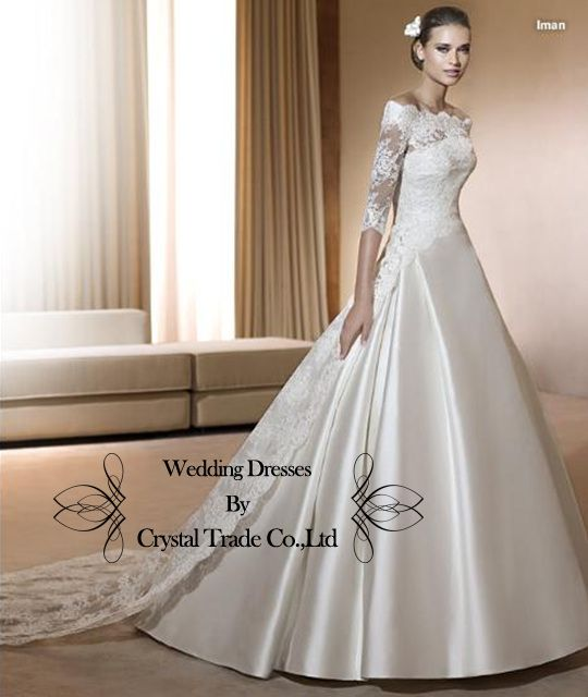 Newest style Wedding bridal dress Lace/Satin half sleeve party prom