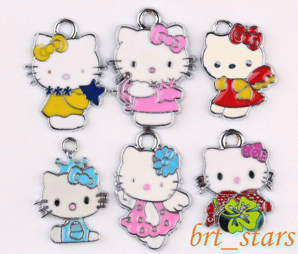 silver Mixed color hello kitty cats Pendants Charms 20~26mm TS141
